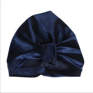 Other - Brand New Navy Velvet Baby Girl Turban 0-24 Months